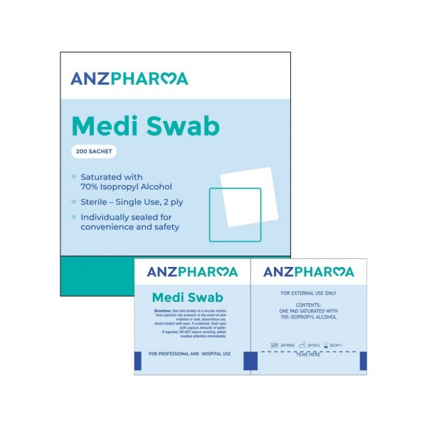 ANZ Pharma Alcohol Medi Swab 200s
