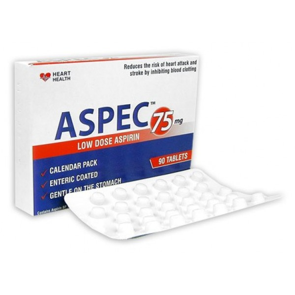 Aspec Enteric Coated Aspirin 75mg 90 Tablets