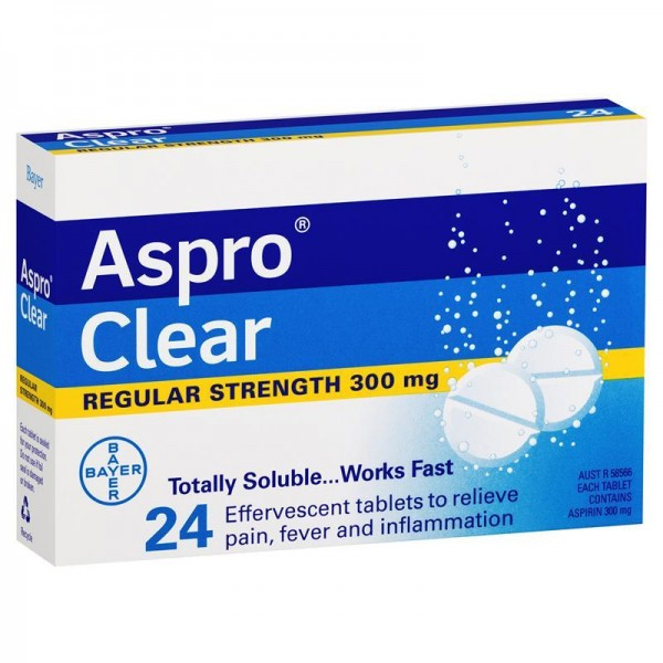 Aspro Clear Soluble Aspirin 300mg 24 Effervescent Tablets