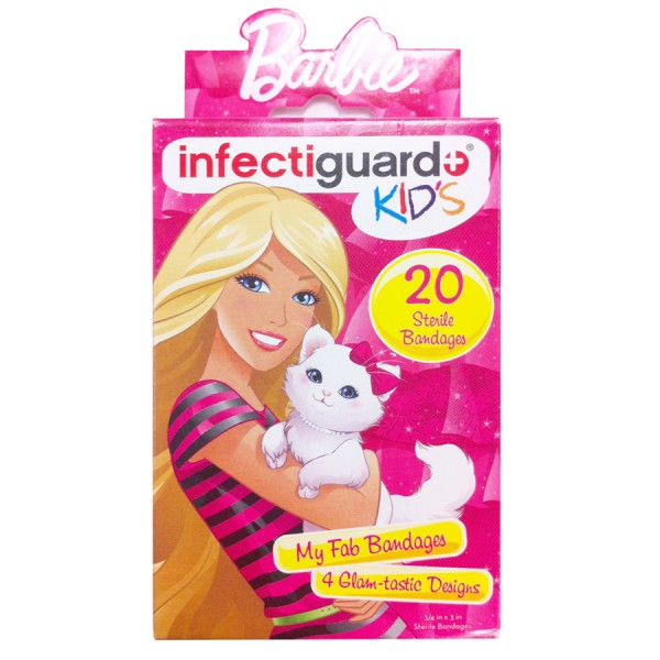 Bandaid Infectiguard Barbie Bandages Kids 20 Pieces