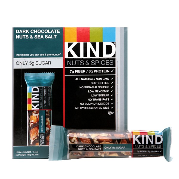 Be Kind Nut Bars Dark Chocolate Nuts & Sea Salt 40g 12 Pk