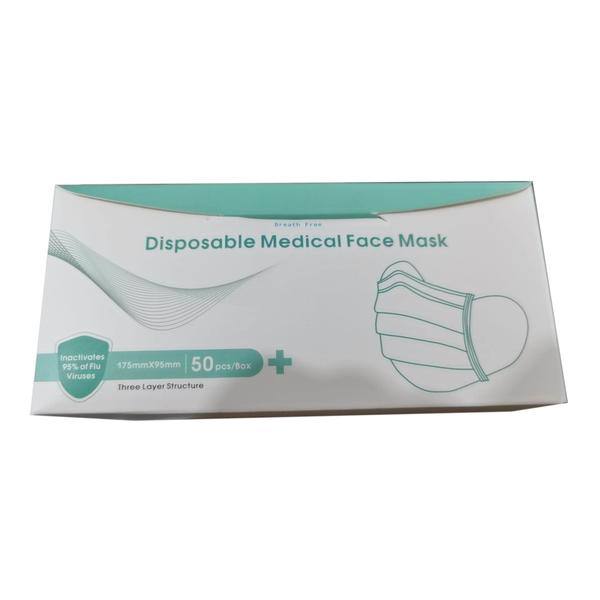 Breathe Free Disposable 3-ply Medical Surgical Face Mask 50 Pieces