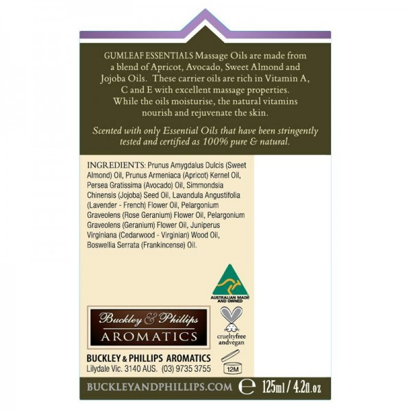 Buckley & Phillips Aromatics Massage Oil Relaxing 125ml