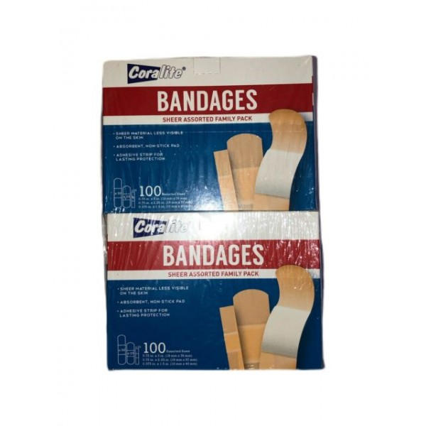 Coralite Bandage Sheer Family Pack Plasters 100 Pieces