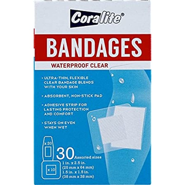 Coralite Bandage Waterproof Assorted Clear Plasters 30 Pieces