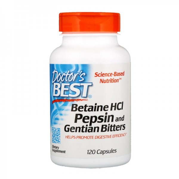 Doctor's Best Betaine HCL Pepsin & Gentian Bitters 120 Capsules