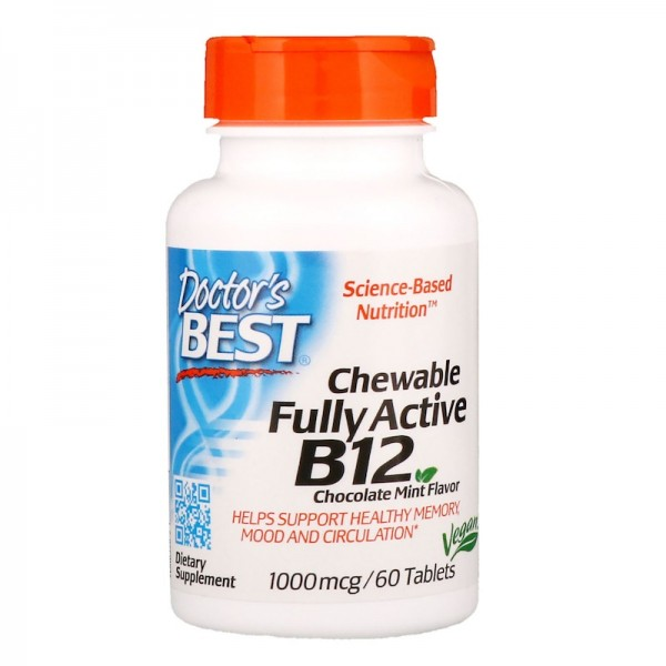Doctor's Best Chewable Vitamin B12 1000mcg 60 Tablets
