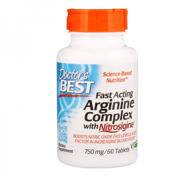 Doctor's Best Fast Acting Arginine Complex 750mg 60 Tablets