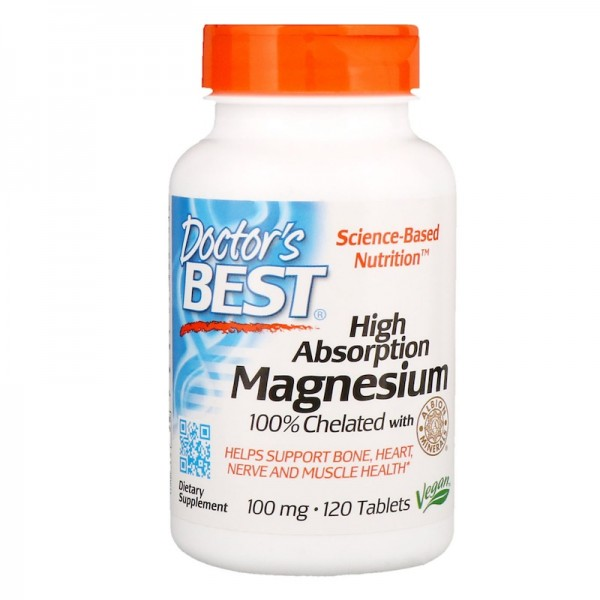 Doctor's Best High Absorption Magnesium 100% Chelated 100mg 120 Tablets