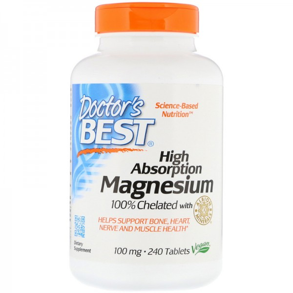 Doctor's Best High Absorption Magnesium 100% Chelated 100mg 240 Tablets