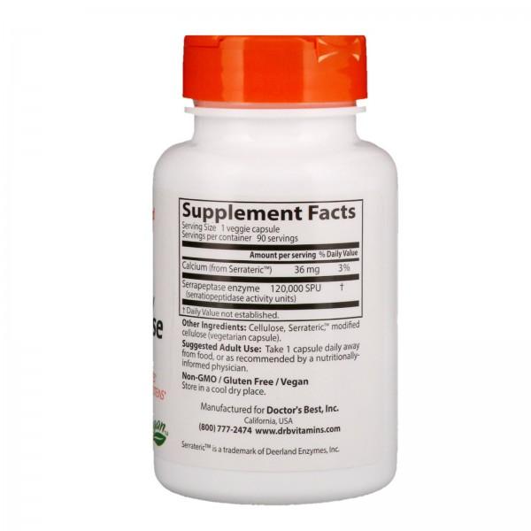 Doctor's Best High Potency Serrapeptase 120,000 SPU 90 Capsules