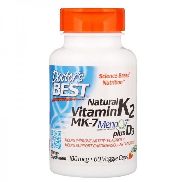 Doctor's Best Natural Vitamin K2 180mcg 60 Capsules