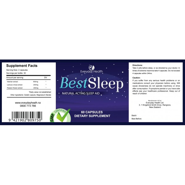 Everyday Health Best Sleep Natural Sleeping Pills 60 Capsules