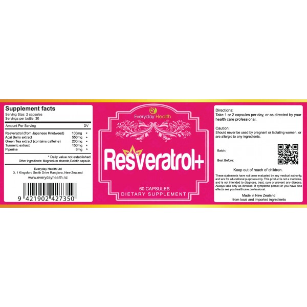 Everyday Health Resveratrol 60 Capsules