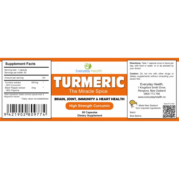 Everyday Health Turmeric Curcumin 60 Capsules