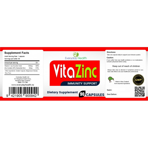 Everyday Health Vitamin C and Zinc 90 Capsules