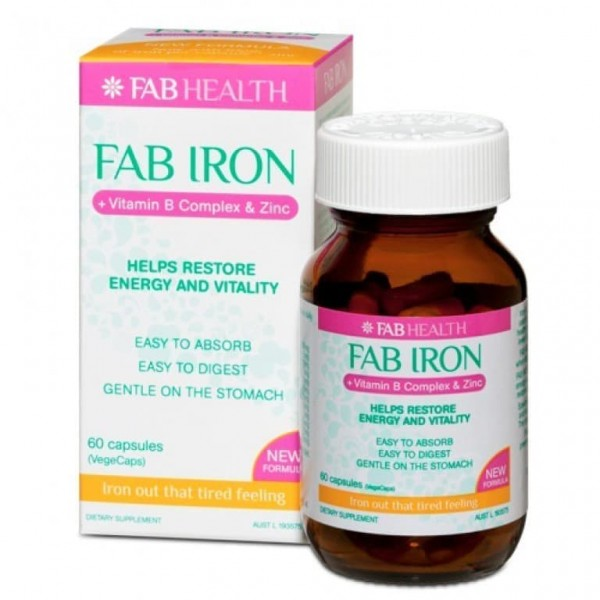 Fab Iron Vitamin B Complex & Zinc 60 Capsules