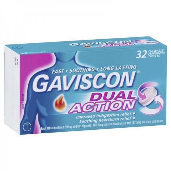 Gaviscon Dual Action Peppermint Flavour 32 Chewable Tablets