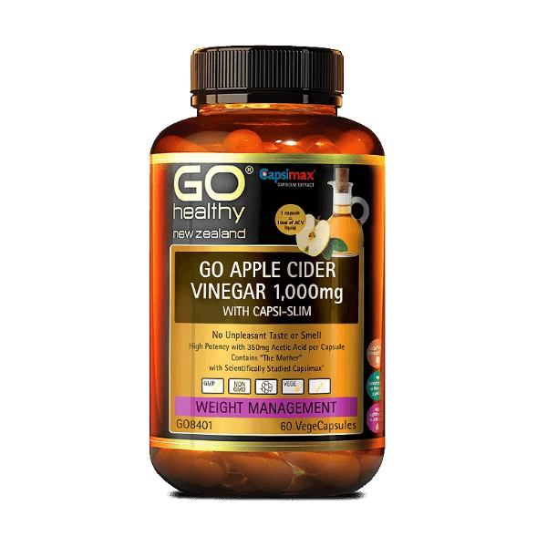 GO Healthy GO Apple Cider Vinegar 1000mg with Capsi-Slim 60 Capsules