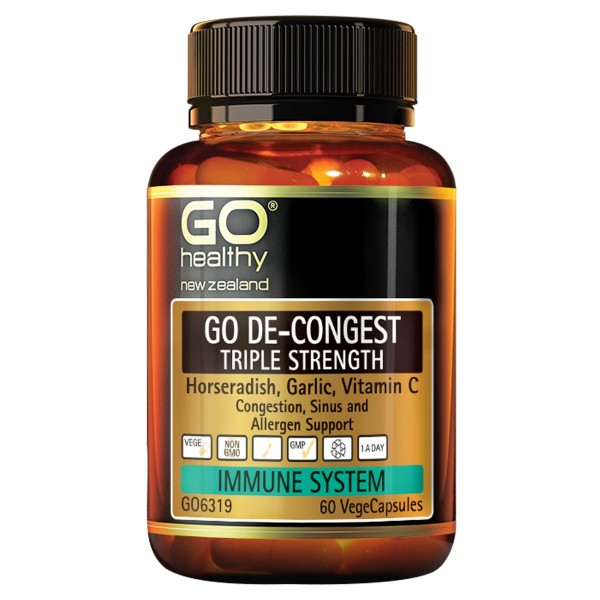 GO Healthy GO De Congest Triple Strength 60 Capsules