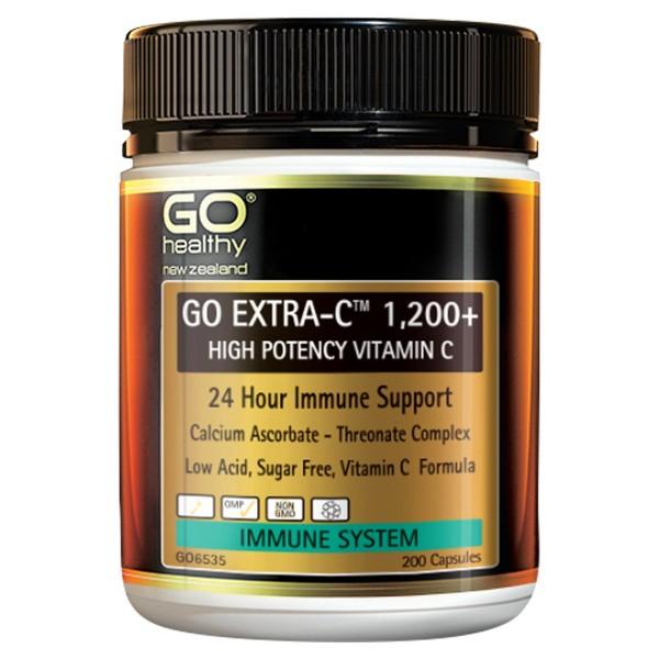 GO Healthy GO Extra C 1200+ High Potency Vitamin C 200 Capsules
