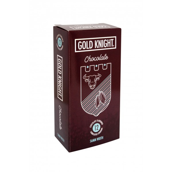 Gold Knight Condoms Chocolate Flavoured 56mm Width 12 Pk