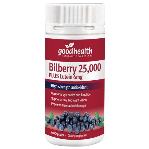 Good Health Bilberry 25,000mg Plus Lutein 6mg 60 Capsules