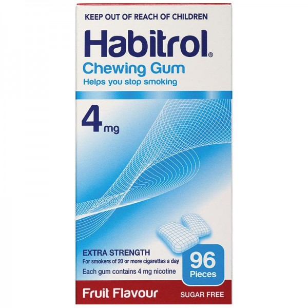 Habitrol Chewing Gum 4mg Fruit Flavour 96 Pieces