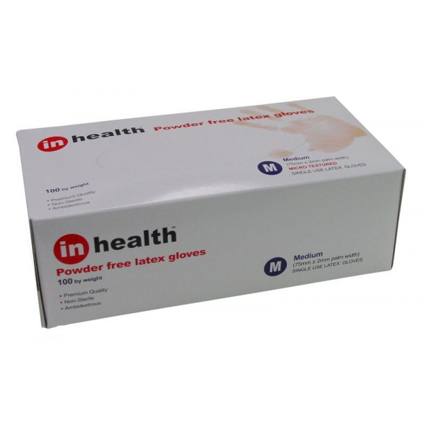 In Health Latex Gloves Powder Free Medium Size 100s