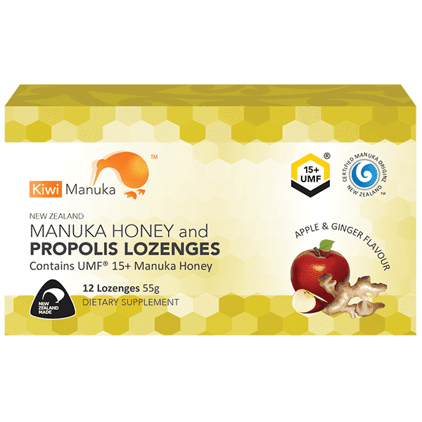 Kiwi Manuka Honey 12 Lozenges - Apple & Ginger