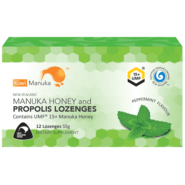 Kiwi Manuka Honey 12 Lozenges - Peppermint
