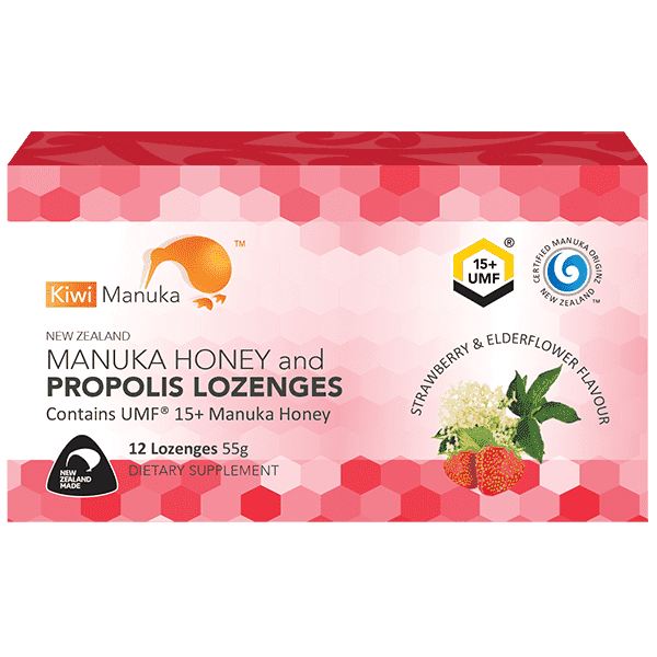 Kiwi Manuka Honey 12 Lozenges - Strawberry & Elderflower