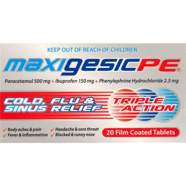 Maxigesic PE Cold Flu Sinus Relief Tablets