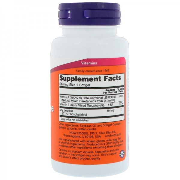 Now Foods Beta-Carotene 25,000iu 90 Softgels