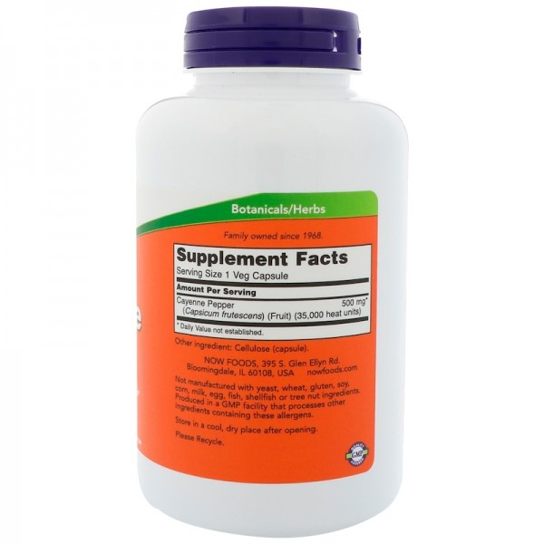 Now Foods Cayenne 500mg 100 Capsules