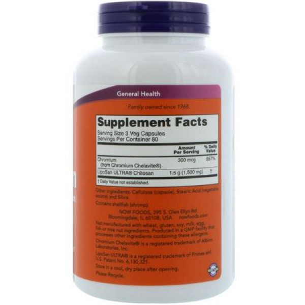 Now Foods Chitosan 500mg 120 Capsules