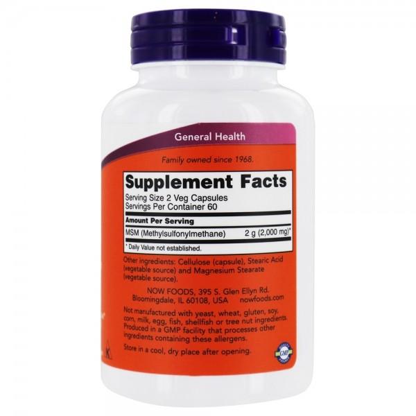 Now Foods MSM Methylsulfonylmethane 1000mg 120 Capsules