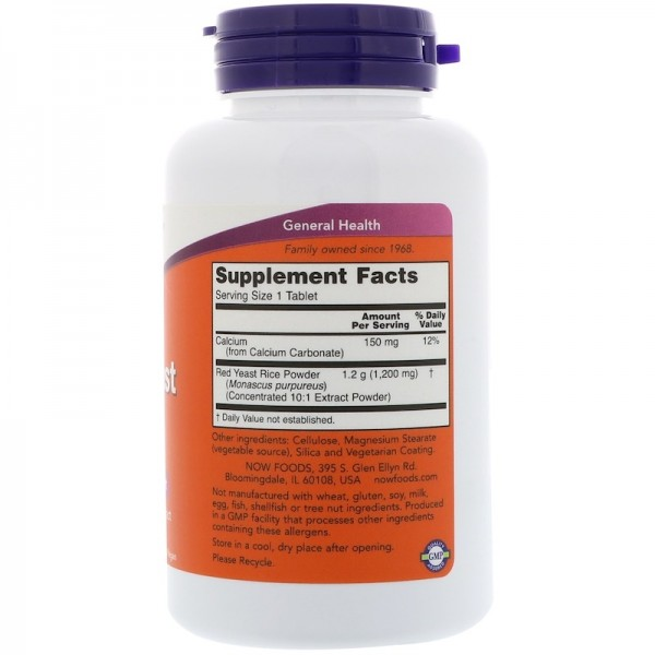 Now Foods Red Yeast Rice 1200mg 60 Tablets