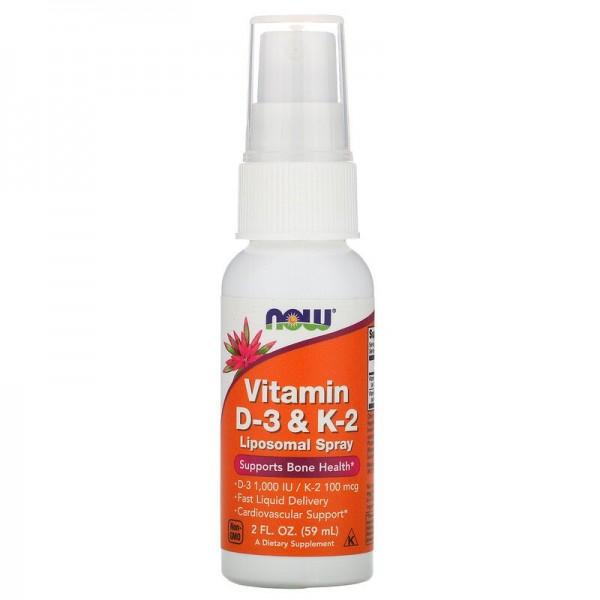 Now Foods Vitamin D3 & K2 Liposomal Spray 59ml