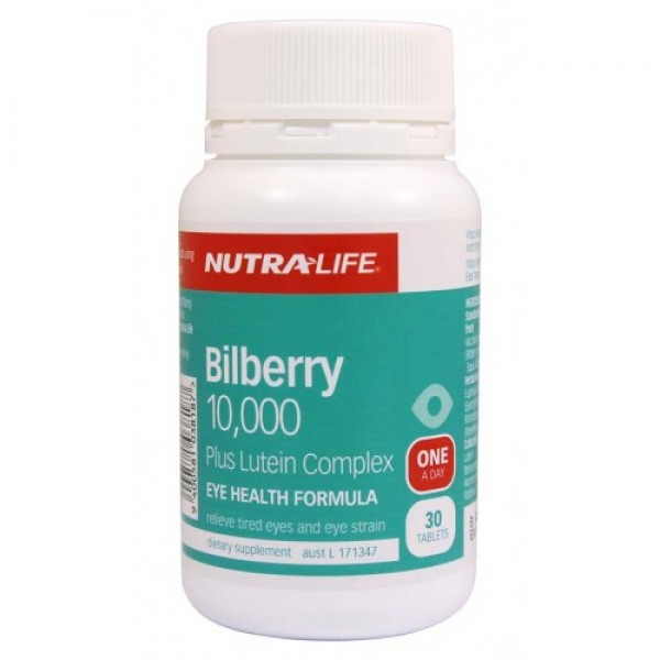 Nutralife Bilberry 10,000 Plus Lutein Complex 30 Tablets