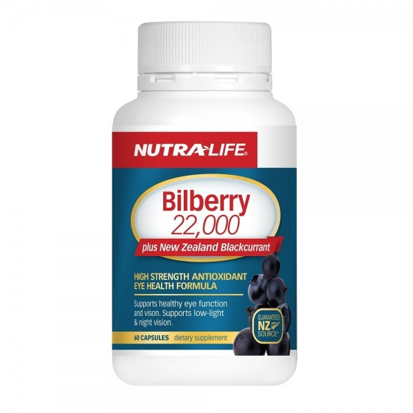 Nutralife Bilberry 22,000 Plus New Zealand Blackcurrant 60 Capsules