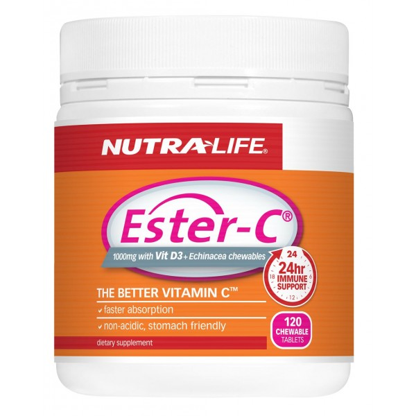 Nutralife Ester C 1000mg with Vitamin D3 + Echinacea Chewables 120 Tablets