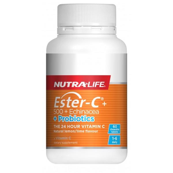 Nutralife Ester C 500 Echinacea + Probiotics 60 Chewable