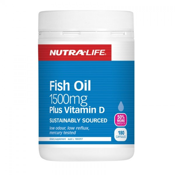 Nutralife Fish Oil 1500mg Plus Vitamin D 180 Capsules