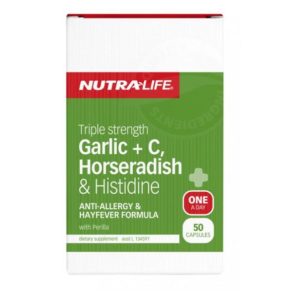 Nutralife Garlic + C, Horseradish & Histidine 50 Capsules