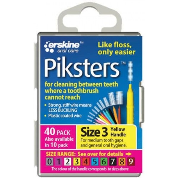Piksters Interdental Toothbrushes - Size 3 Yellow (10 brushes per pack)