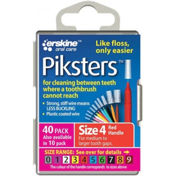 Piksters Interdental Toothbrushes - Size 4 Red (10 brushes per pack)