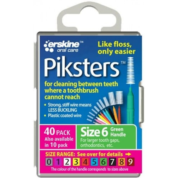 Piksters Interdental Toothbrushes - Size 6 Green (10 brushes per pack)