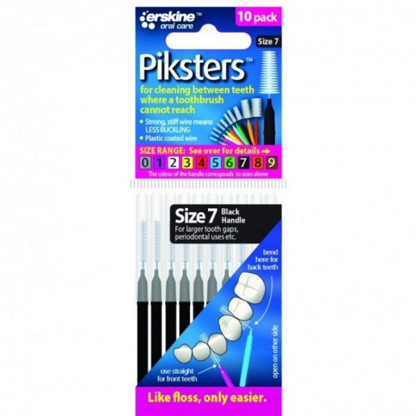 Piksters Interdental Toothbrushes - Size 7 Black (10 brushes per pack)