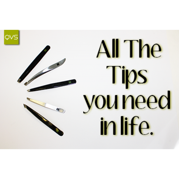 QVS Square Tip Tweezers Black